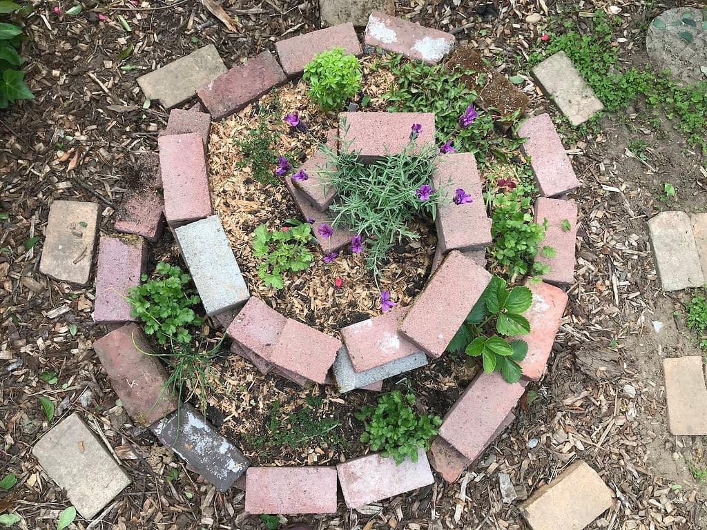a spiral garden bed made with bricks