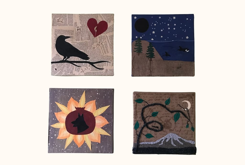 Four collages. The first has a crow looking over its shoulder at a heart enclosing a stalk of wheat. The second has a starry night sky, dark moon, and orca whale swimming in the sea. The fourth has a pomegranate with a silhouette of a german shepherd in the middle, surrounded by a sunflower-like burst of flames, against a starry backdrop. The fourth has a depiction of Mt. Rainier made from sand and a looping plant vine reaching up to a sickle moon.