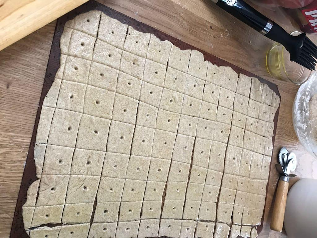 sourdough crackers before baking