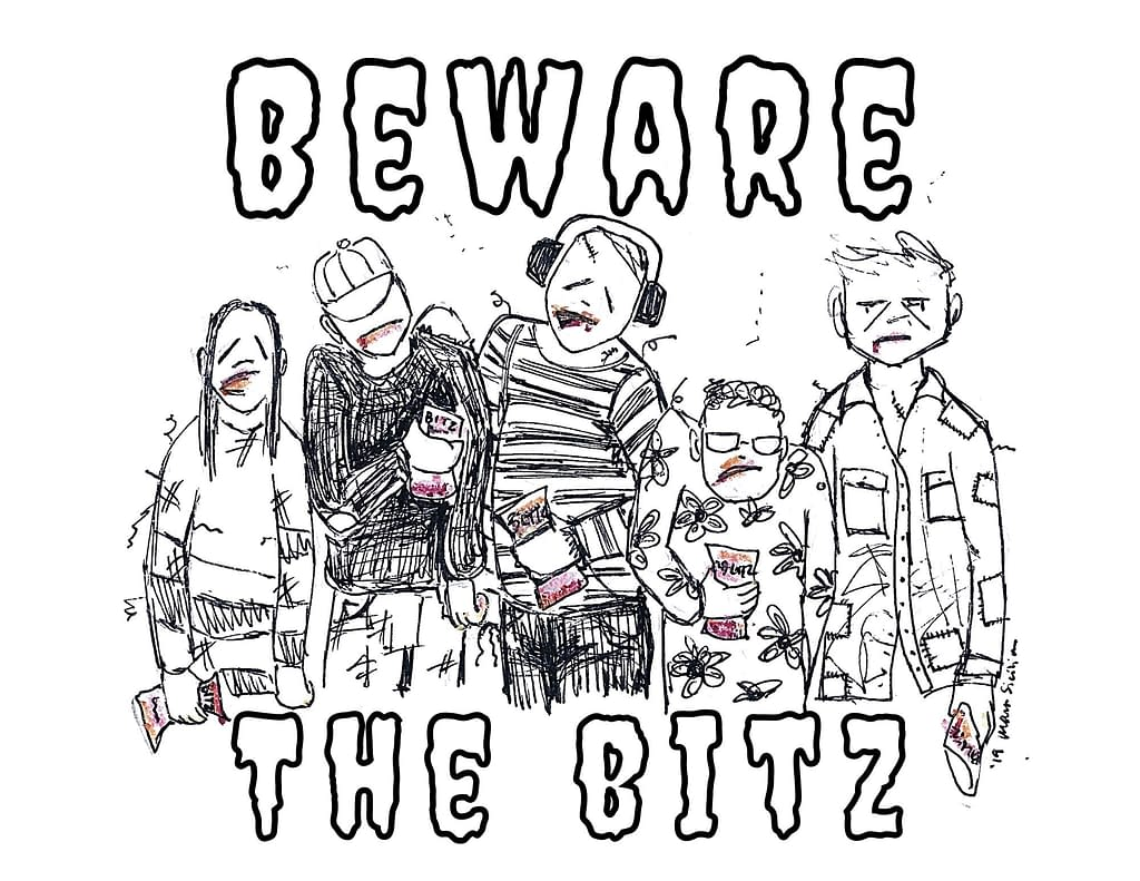 """coloring sheet of the Bitz zombies. a group of five scruffy-looking zombies, with title around them that reads """"Beware the Bitz"""""""