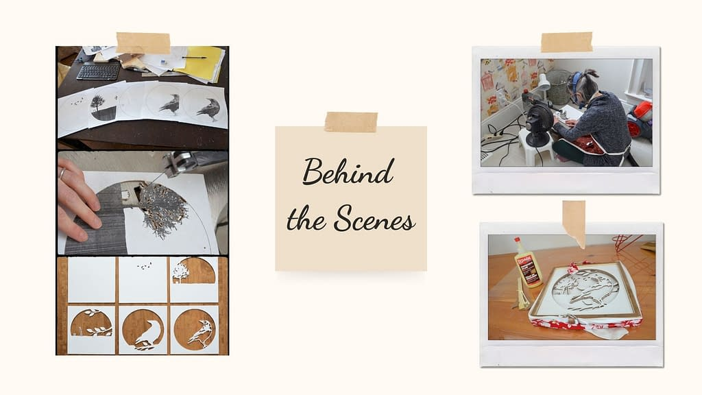 """Behind the scenes photos of creating the crow shadowbox. Five printouts of the different layers spread across a table. Cutting out a tree with a very thin scroll saw blade. The layers arrayed on a table. A photo of Nathalie hunched over her scroll saw, with a fan and a light beside her. The piece assembled on a table with a strap around the frame and a bottle of wood glue to the side. A post-it note in the center of the images reads, """"Behind the Scenes."""""""