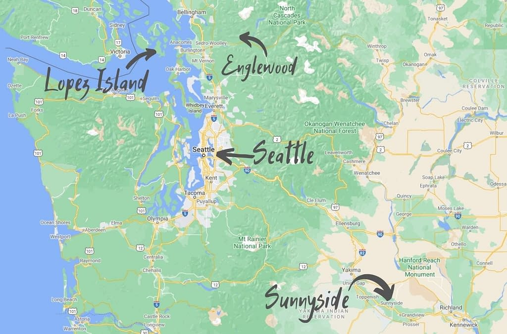 Map of Washington state with locations of Lopez Island, Englewood, Seattle, and Sunnyside indicated