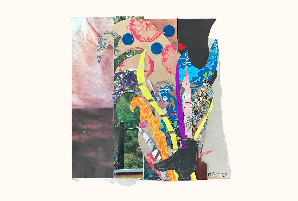 A collage filled with many different colors, shapes, and textures, with shiny sequins and metallic stripes. At the base, beneath an explosion of different shapes, sits a small crow looking over its shoulder.