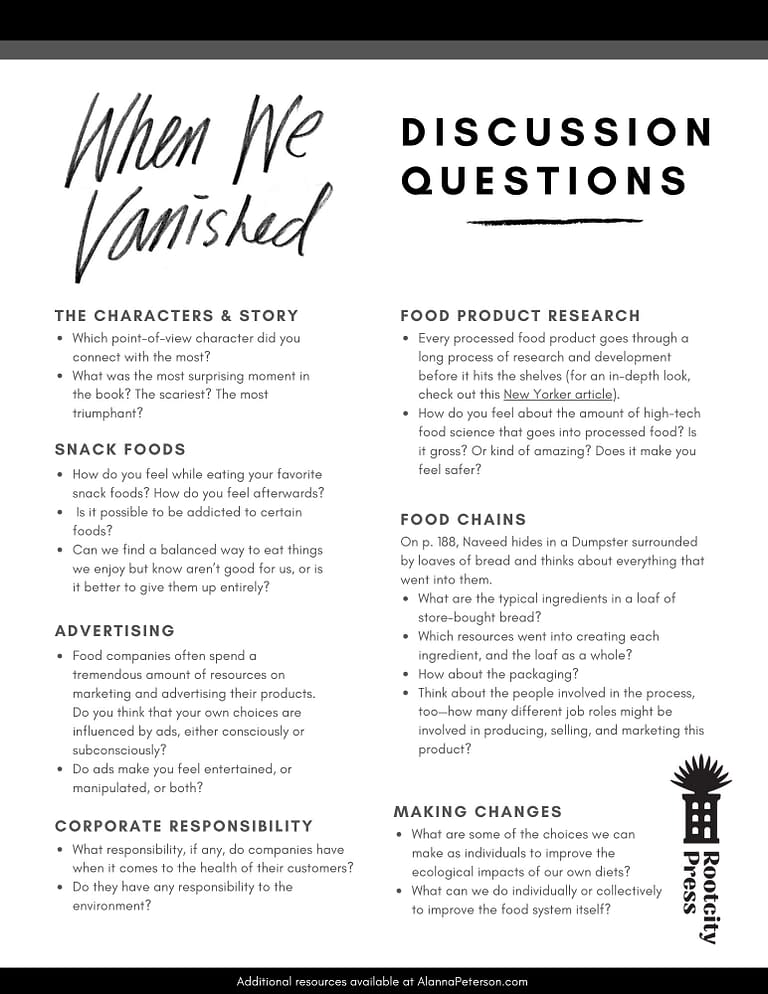 When We Vanished discussion questions