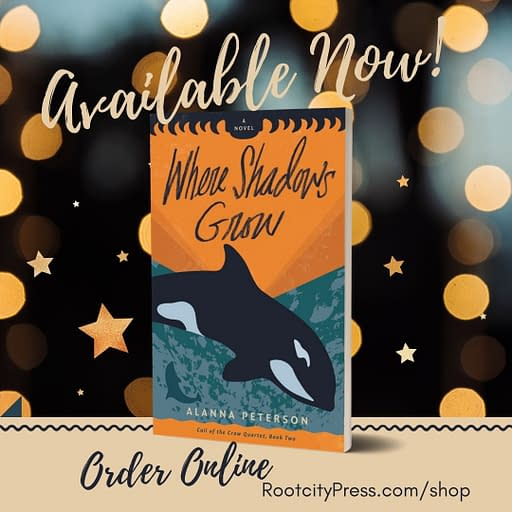 """3D cover of Where Shadows Grow against a starry background. Text reads, """"Available Now! Order online. RootcityPress.com/shop."""""""