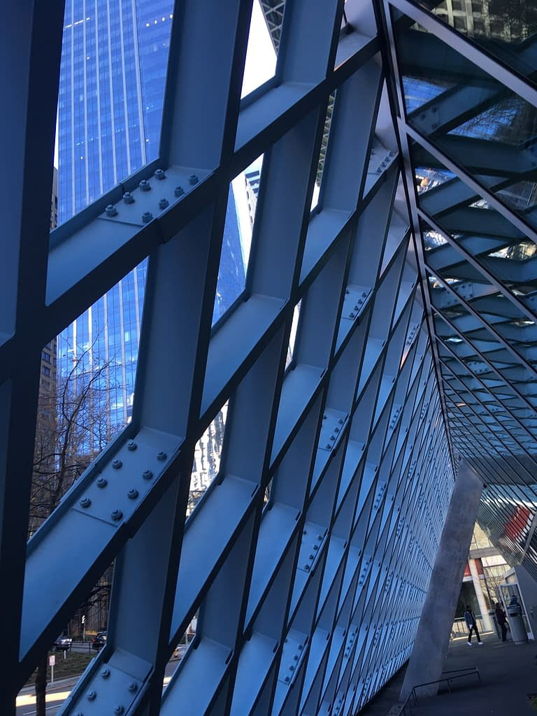 Criscrossing eaves of the Seattle Central Library