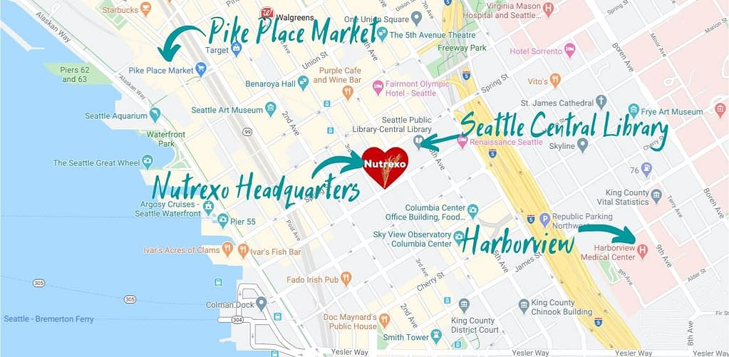Map of downtown Seattle, including Pike Place Market, Nutrexo Headquarters, Central Library, and Harborview