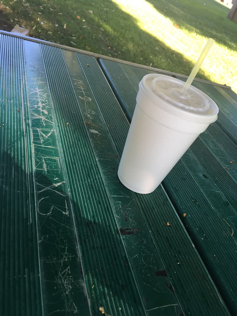 Styrofoam cup on top of a green picnic table with lots of indecipherable letters carved into the green paint
