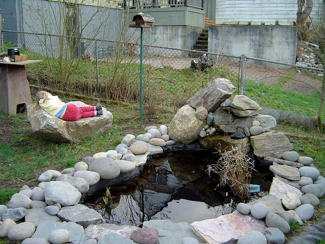 a young girl reclines on a rock next to a small pond ringed by stones