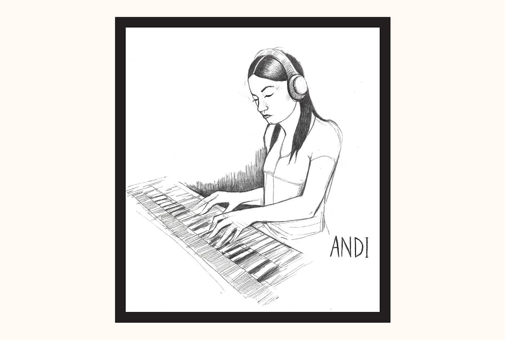 A ballpoint pen sketch of Andi, with headphones on, playing a piano. She is looking down, apparently deep in peaceful concentration.