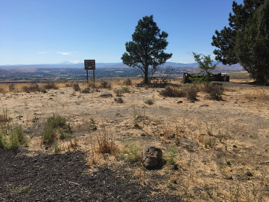 Scenic overlook in the Yakima Valley. A few pine trees, flat ground covered with golden-brown dry grass, and a sign in the distance pointing out the peaks of Mt Adams and Mt Rainier.