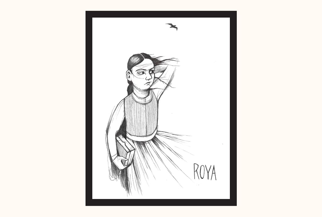 A ballpoint pen sketch of Roya, holding her hair back from the wind. A gust catches her dress. She holds a box in her right hand, and a bird flies above her.