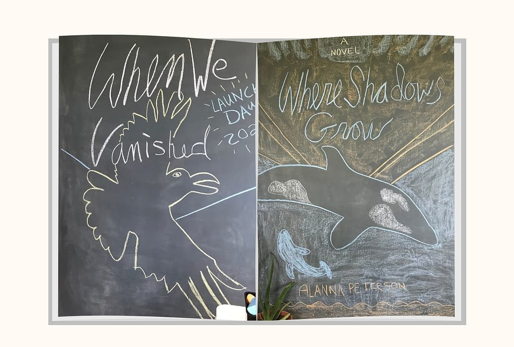 Book covers of When We Vanished and Where Shadows Grow as rendered in chalk.