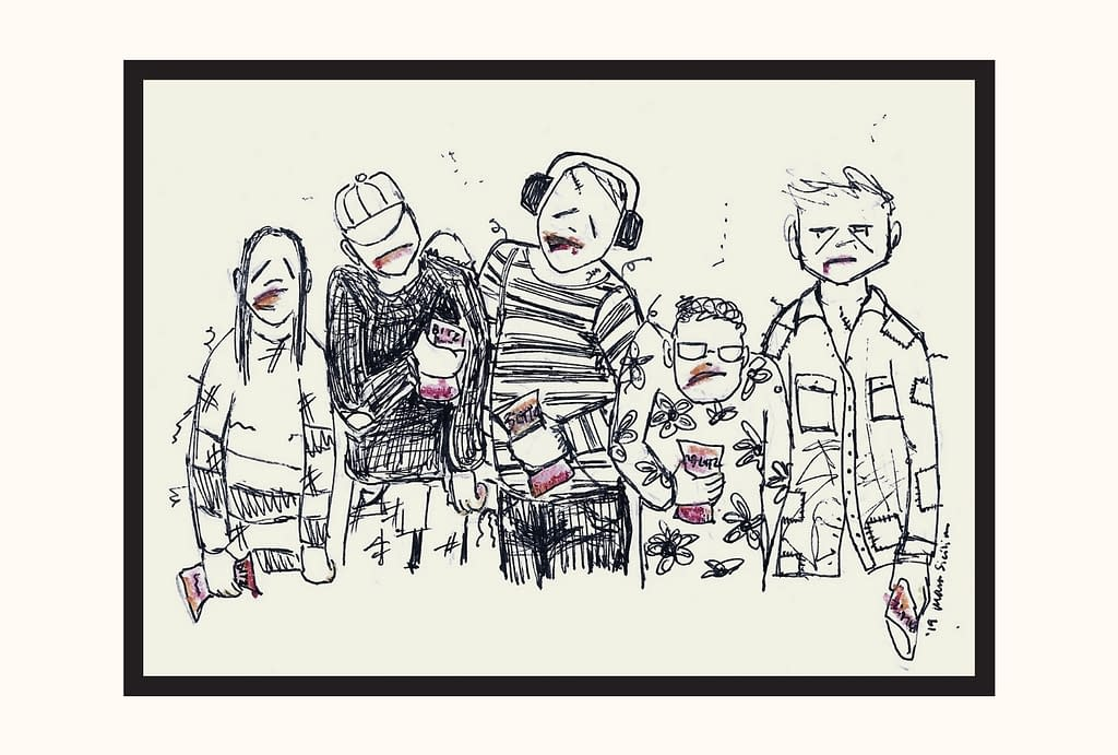 a group of five scrappy-looking zombies, each holding a bag of Blazin Bitz, their faces and fingers smeared with red-orange Bitz dust.