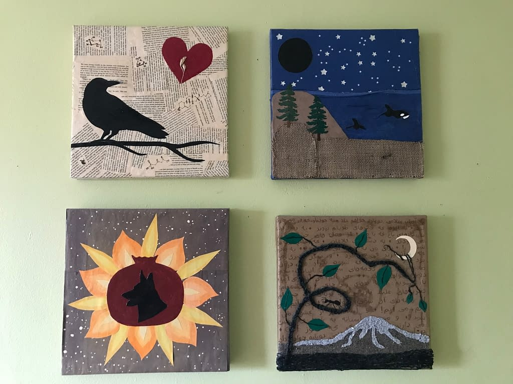 four collages. The first shows a silhouette of a crow on a branch with a red heart in the corner. The second shows a nighttime seascape with a dark new moon in one corner and an orca whale swimming in the water. The fourth shows a dog silhouette inside a pomegranate with flame-like petals around it. The fourth shows a mountain and a plant vine with small ants walking on it.